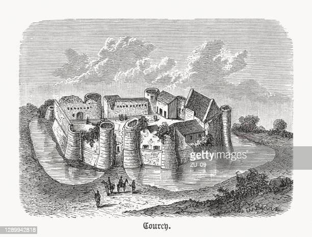château de courcy, calvados department of france, woodcut, published 1893 - normandy stock illustrations