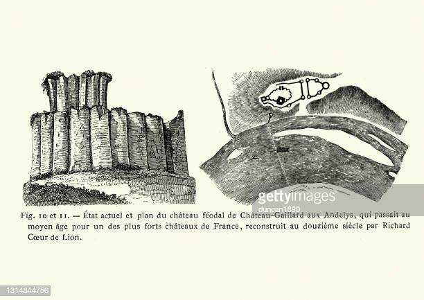 château gaillard is a medieval castle ruin overlooking the river seine - normandy stock illustrations