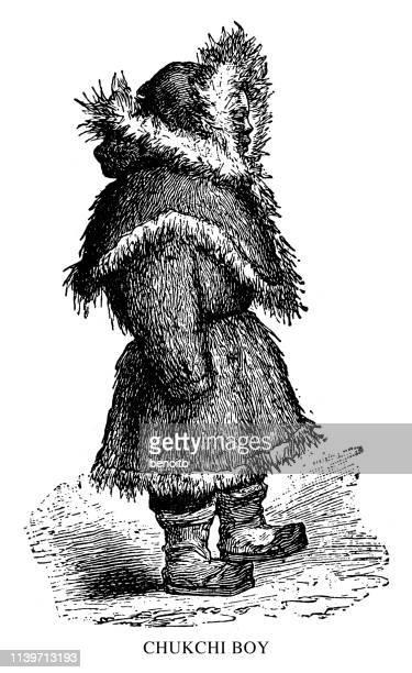 chukchi boy - inuit stock illustrations