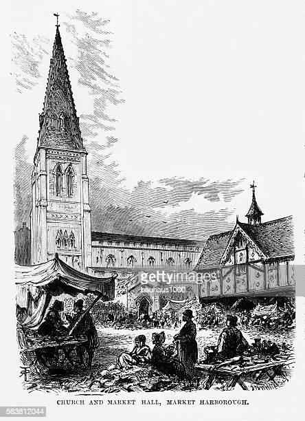 illustrations, cliparts, dessins animés et icônes de church and market, market harborough, england victorian engraving, circa 1840 - marchand