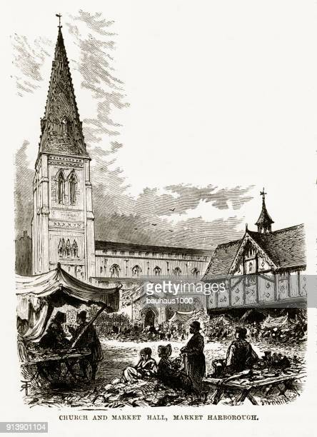church and market, market harborough, england victorian engraving, circa 1840 - spire stock illustrations, clip art, cartoons, & icons