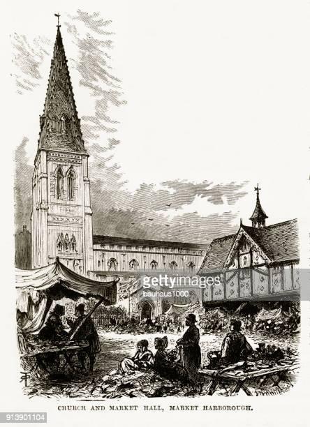 ilustraciones, imágenes clip art, dibujos animados e iconos de stock de iglesia y mercado, mercado harborough, inglaterra victoriana grabado, circa 1840 - puesto de mercado