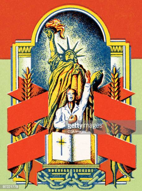 church and state - statue of liberty stock illustrations