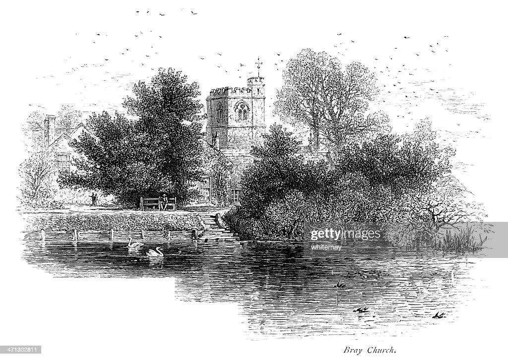 Church at Bray by the River Thames : Stock Illustration