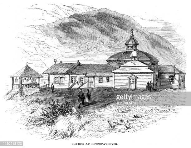 Church at Kamchatka engraving 1868