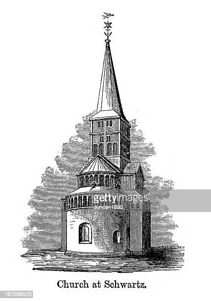 church at schwartz - steeple stock illustrations, clip art, cartoons, & icons