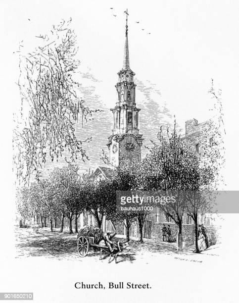 church, bull street, savannah, georgia, united states, american victorian engraving, 1872 - spire stock illustrations