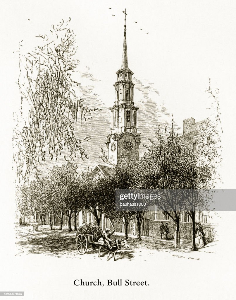 Church, Bull Street, Savannah, Georgia, United States, American Victorian Engraving, 1872 : stock illustration