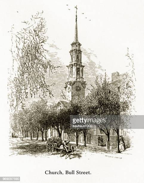 Church, Bull Street, Savannah, Georgia, United States, American Victorian Engraving, 1872