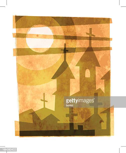 stockillustraties, clipart, cartoons en iconen met church in the sun - klooster