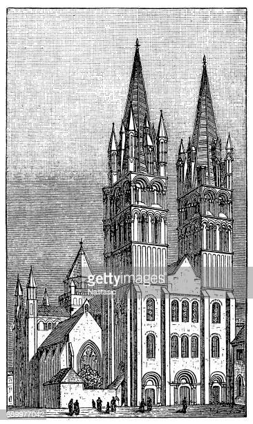 church of saint-etienne in caen - spire stock illustrations, clip art, cartoons, & icons