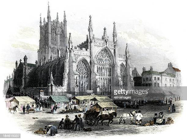 church of the holy trinity, hull, 1842 (engraved illustration) - 1840 1849 stock illustrations