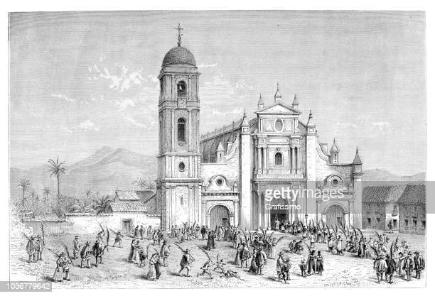 stockillustraties, clipart, cartoons en iconen met kerk san pedro in cali, colombia - colombia