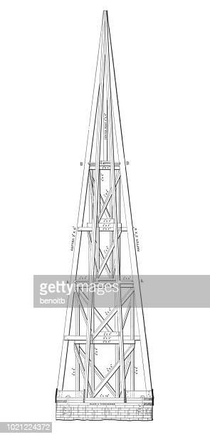 church spire cross section - spire stock illustrations, clip art, cartoons, & icons