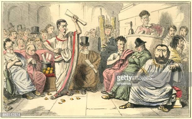 cicero verurteilte catiline - senat stock-grafiken, -clipart, -cartoons und -symbole