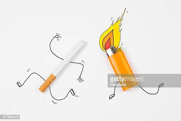 illustrazioni stock, clip art, cartoni animati e icone di tendenza di sigaretta in fuga da bruciare più leggero. - fuggire