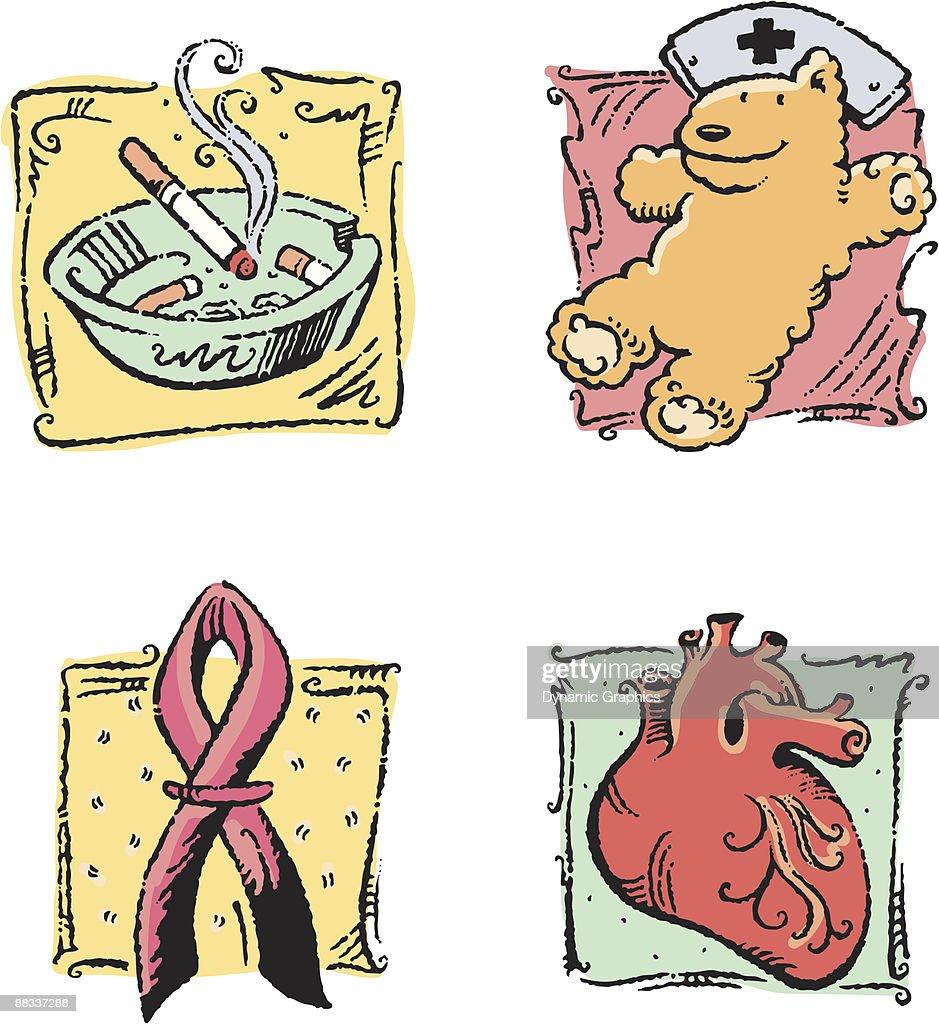 Cigarette In Ashtray Awareness Symbol Teddy Bear Human Heart Layered