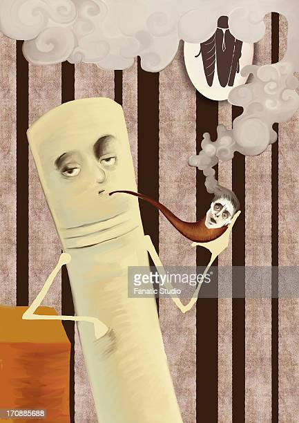 cigarette smoking away human in pipe - unhealthy living stock illustrations, clip art, cartoons, & icons