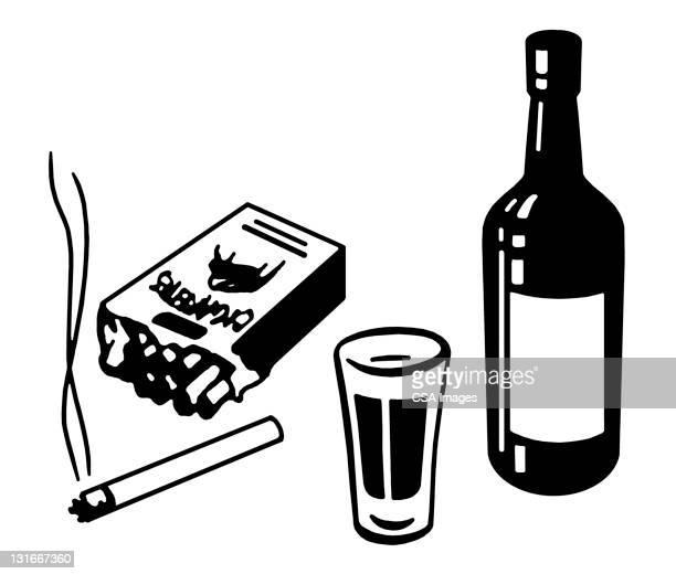 ilustraciones, imágenes clip art, dibujos animados e iconos de stock de cigarettes and alcohol - cigarrillo