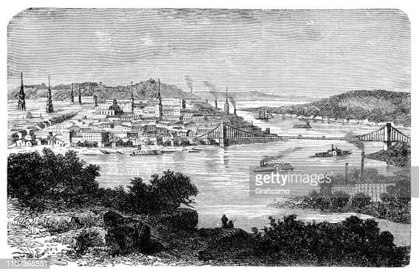 オハイオ川沿いのシンシナティ市 1887年 - オハイオ川点のイラスト素材/クリップアート素材/マンガ素材/アイコン素材