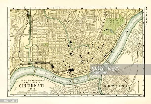cincinnati map 1898 - cincinnati stock illustrations