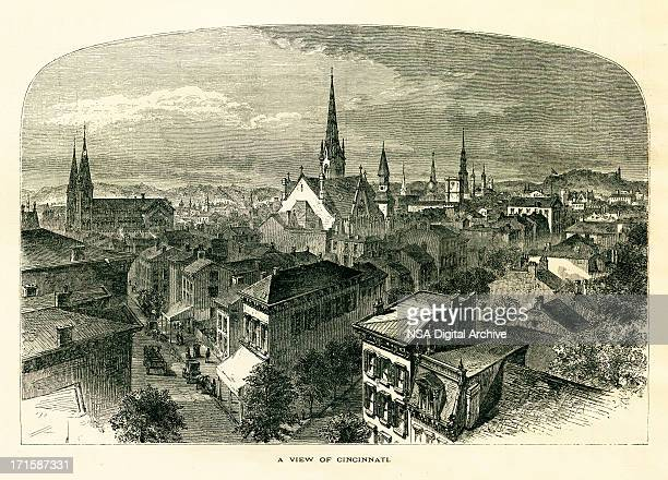 cincinnati, ohio | historic american illustrations - steeple stock illustrations, clip art, cartoons, & icons
