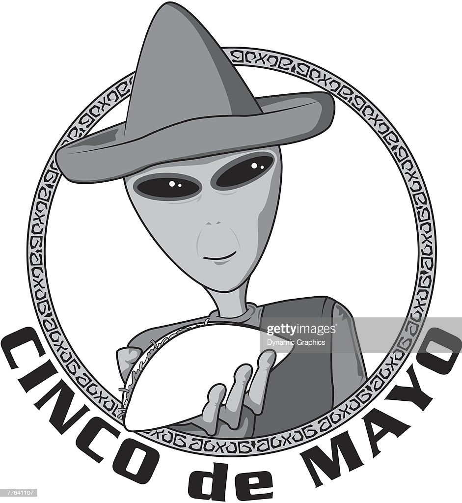 3dc2efebb4d707 Cinco de mayo alien with taco and sombrero vektorgrafik getty images jpg  941x1024 Alien sombrero