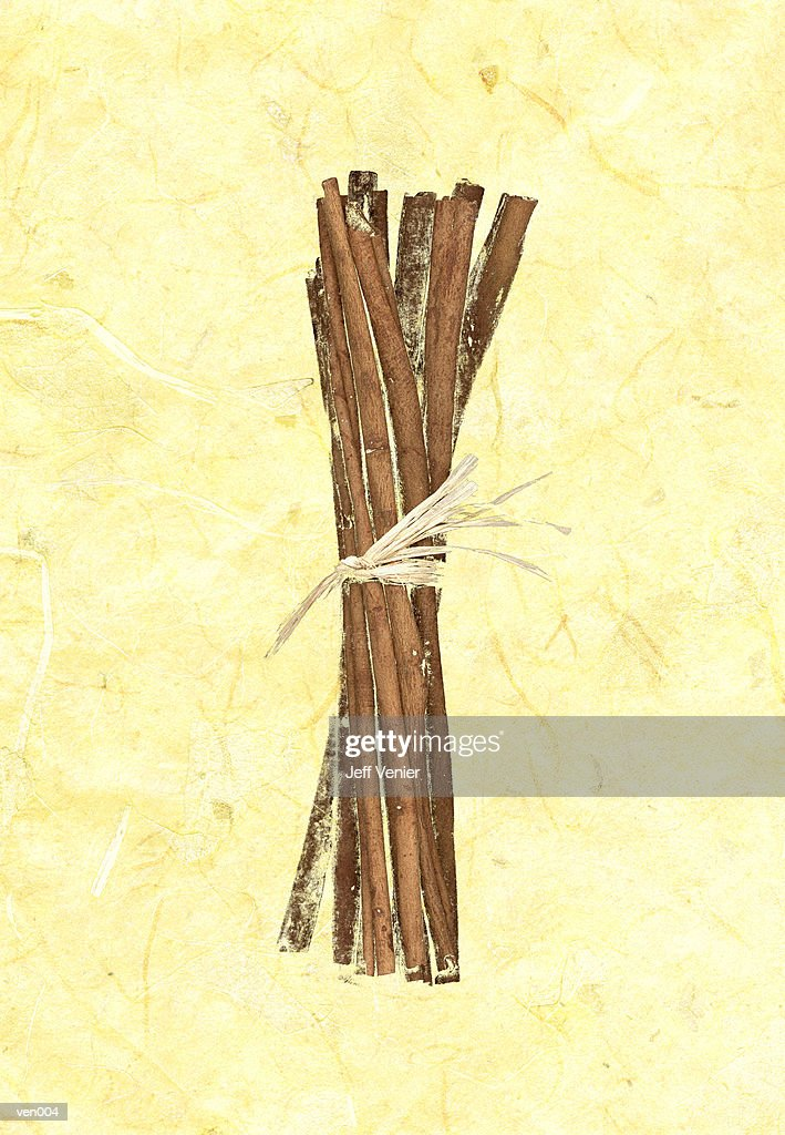 Cinnamon Sticks on Marble Background : Stock Illustration