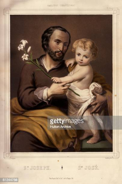 Circa 1 AD, St Joseph or San Jose, the husband of the Virgin Mary. With his left hand he supports the infant Jesus, while in his right, he holds a...