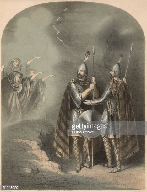 Circa 1030 The cover for a musical score of Verdi's opera 'Macbeth' depicting Shakespeare's antihero and his companion Banquo as they encounter the...