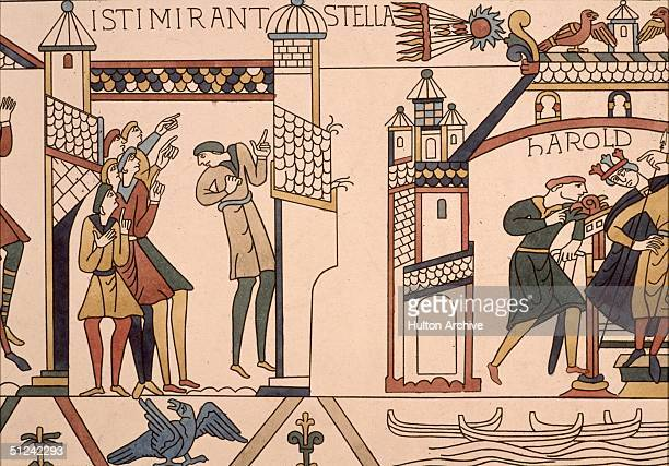 Circa 1090 Halley's Comet being pointed out and reported to King Harold at the time of the Norman Conquest of England Its appearance was said by...