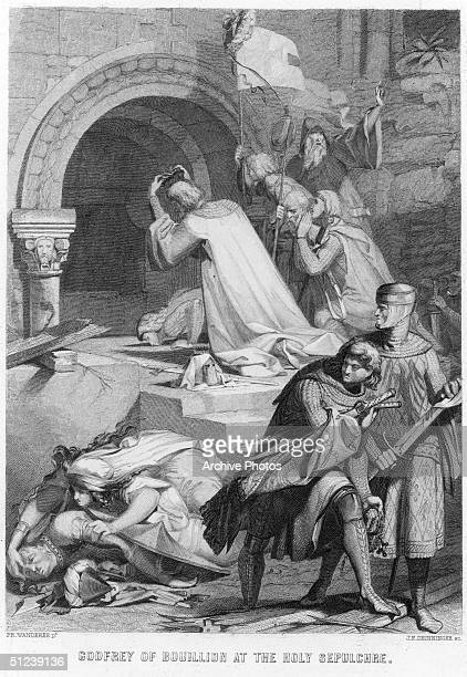 Circa 1100, Godfrey de Bouillon Duke of Lower Lorraine, one of the leaders of the First Crusade, 1095-1100. On July 15 after a five week siege, his...