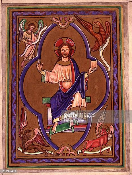 Circa 1220 An illuminated page from the Psalter of St Augustine showing Christ and the four apostles Matthew Mark Luke and John symbolised as an...
