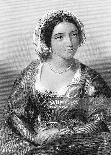 Circa 1255, Queen Eleanor , Queen of Edward I whom she married in 1254. She was the half sister of King Alfonso X of Leon and Castile. Engraved by W....