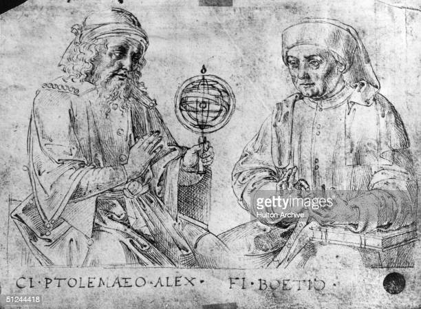 Circa 130 AD Greek astronomer and geographer Ptolemy at work with a sphere Original Artwork In the collection of Studio Raffaele R Accademia Venice