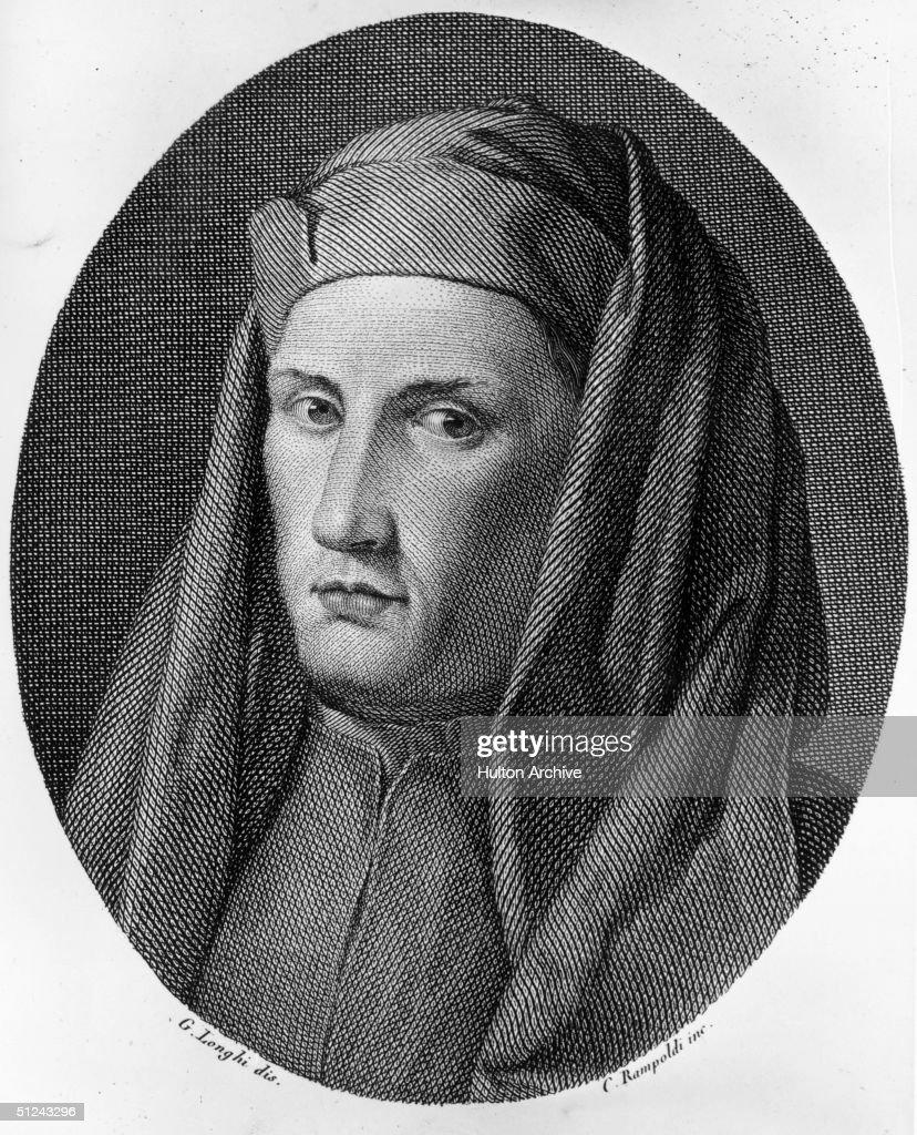 Circa 1300, Italian painter, Giotto di Bondone (1266 - 1336). Original Artwork: Engraving by C Rampoldi after G Longhi