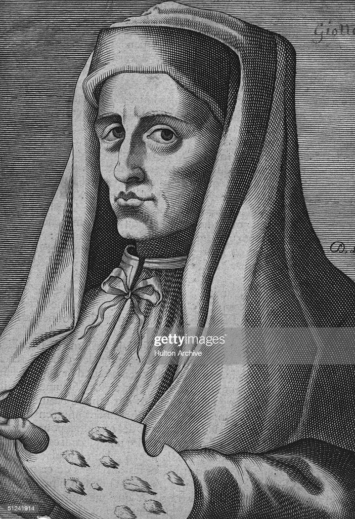 Circa 1301, Italian painter and architect Giotto di Bondone (1266 - 1336), holding his palette.