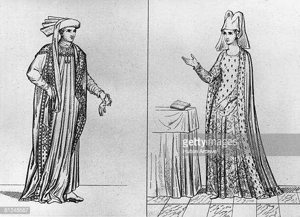Circa 1440, Philippe Bourgogne, Duke of Burgundy and his third wife Isabella of Portugal. Original Artwork: Lefthand image: from a manuscript...