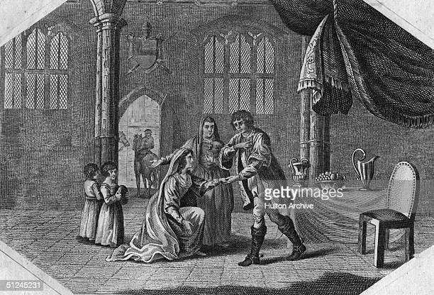Circa 1464, A scene from the life of Queen Elizabeth of England, , born Elizabeth Woodville, who married King Edward IV of England in 1464, and was...
