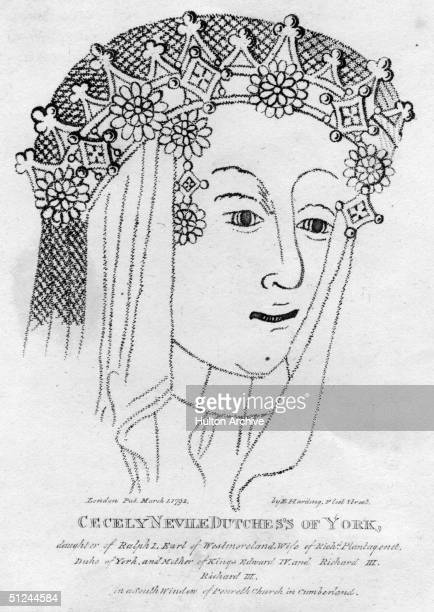 Circa 1475, Cecily Neville , Duchess of York, daughter of the first Earl of Westmorland. She was the wife of Richard, Duke of York.