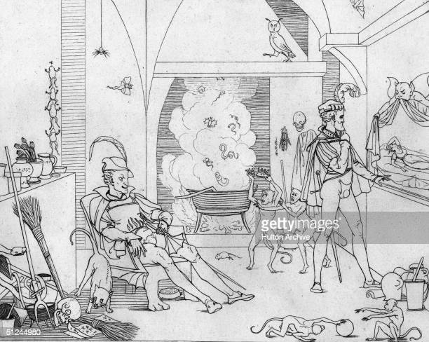 Circa 1500 The legendary Faust in his study with Mephistopheles They are surrounded by the apparatus of witchcraft a bubbling cauldron skulls spiders...