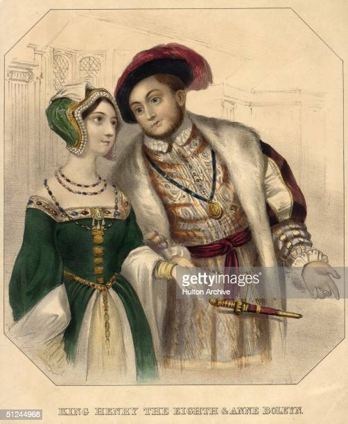 Circa 1535, King Henry VIII of England and his second wife, Anne Boleyn . He had broken with the papacy following the divorce of his first wife,...