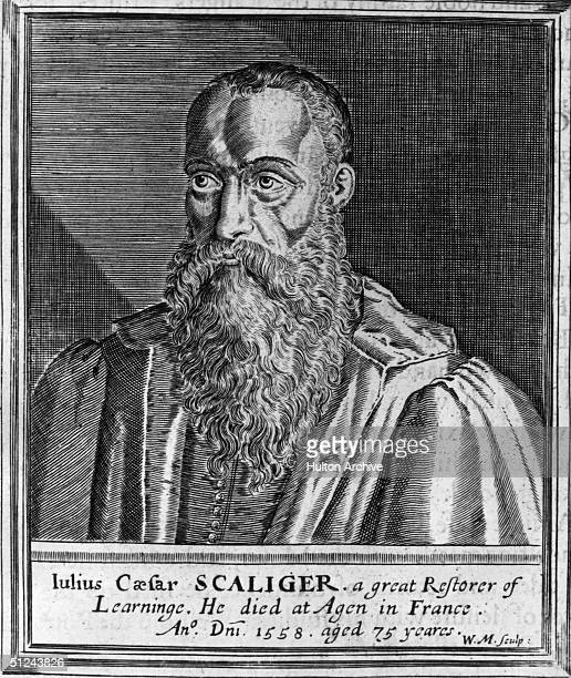 Circa 1550 Italian born French scholar and poet Julius Caesar Scaliger As well as producing learned works on latin grammar he wrote invective poetry