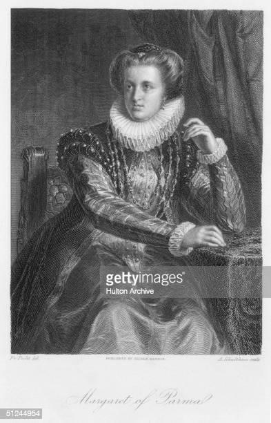 Circa 1550, Margaret of Parma , aka Margaret of Austria, illegitimate daughter of Holy Roman Emperor Charles V. In 1536 she married Alessandro, duke...
