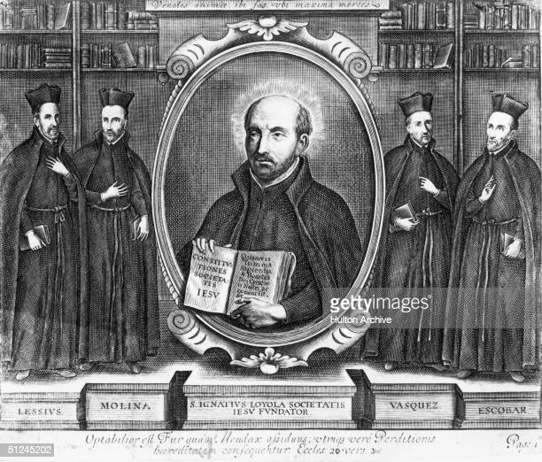 Circa 1550 St Ignatius De Loyola the Spanish ecclesiastic who founded the Society of Jesus otherwise known as the Jesuits in 1534 Surrounding him are...