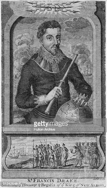 Circa 1580 British sailor and navigator Sir Francis Drake receiving the homage and regalia of the King of New Albion a coastal area of the west coast...