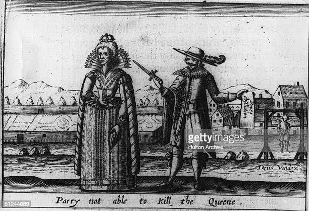 Circa 1585, William Parry and Queen Elizabeth I. Parry was hanged for plotting to kill Elizabeth. He was pardoned in advance by the Pope which...