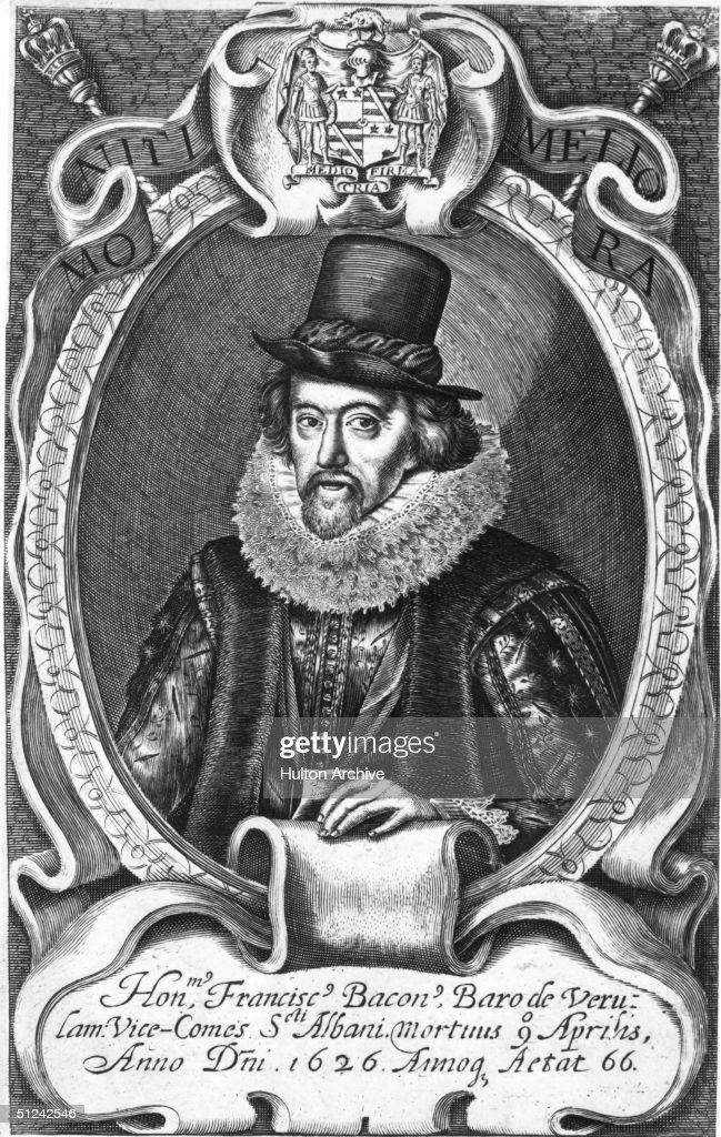 english essayist - francis bacon Download this stock image: francis bacon (1561-1626) english statesman and philosopher title page of his 1620 novum organum scientiarum (new scientific method) showing a galleon passing through the pillars of hercules symbolising the old-style mediterranean based system of logic to explore new worlds symbolised by the atlantic.