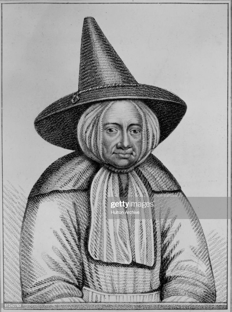 Circa 1600, Jane Scrimshaw, reputed to be a witch in a high-crowned, pointed hat.