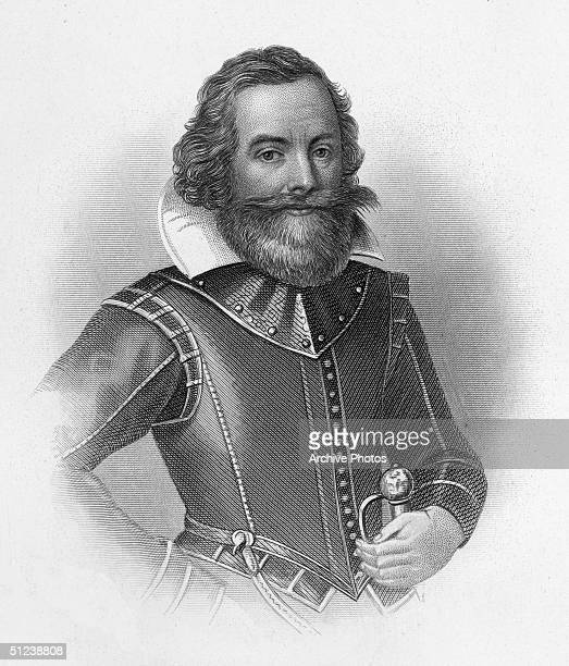 Circa 1607 John Smith English soldier explorer cartographer colonial administrator Sailed to Virginia colony 1606 captured by Chief Powhatan and...